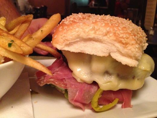 The Godfather - prosciutto, salami, peppers, provolone all on a sesame seeded bun.